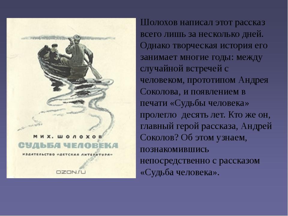 Шолохов написал этот рассказ всего лишь за несколько дней. Однако творческая...