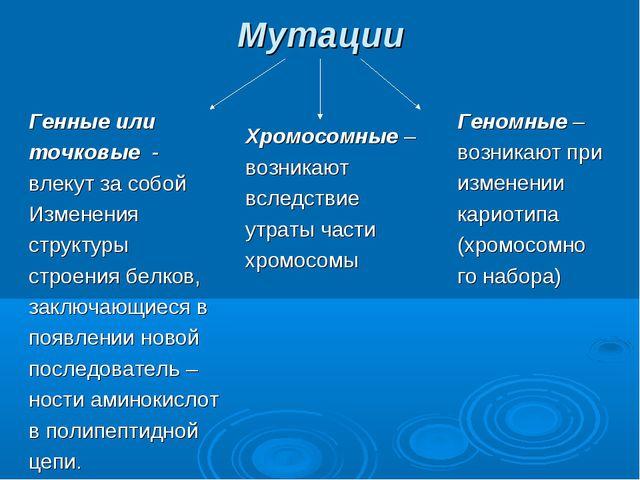 Мутации Генные или точковые - влекут за собой Изменения структуры строения бе...