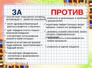 ЗА ПРОТИВ способствует повышению интереса, активизации и развитию мышления; н