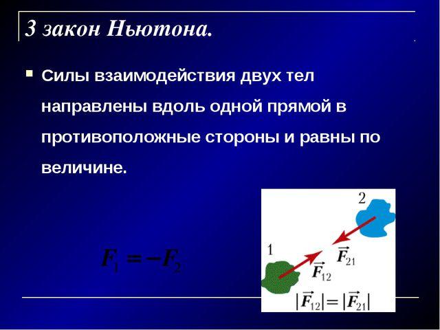 3 закон Ньютона. Силы взаимодействия двух тел направлены вдоль одной прямой в...