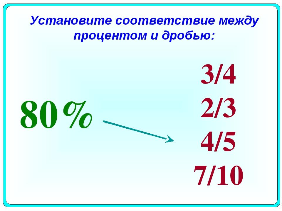 Установите соответствие между процентом и дробью: 80% 3/4 2/3 4/5 7/10