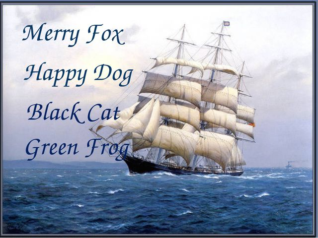 Merry Fox Happy Dog Black Cat Green Frog