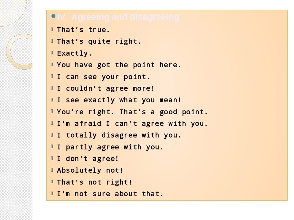 IV. Agreeing and disagreeing That's true. That's quite right. Exactly. You ha...