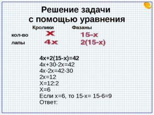 Решение задачи с помощью уравнения Кролики Фазаны кол-во лапы 4х+2(15-х)=42 4