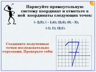 (- 2;3); ( - 1;4); (2;4); (0; - 3); (-1; 1); (2;1). Нарисуйте прямоугольную
