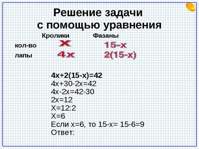 Решение задачи с помощью уравнения Кролики Фазаны кол-во лапы 4х+2(15-х)=42 4...
