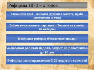 Реформы 1870 – х годов Узаконены тред – юнионы (судебная защита, право провед