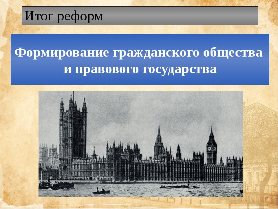 Итог реформ Формирование гражданского общества и правового государства