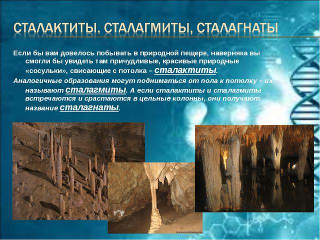 Если бы вам довелось побывать в природной пещере, наверняка вы смогли бы увид...