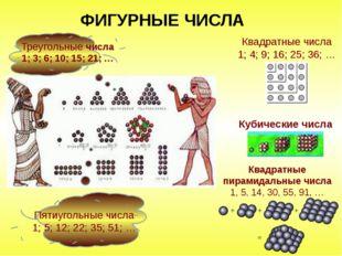 ФИГУРНЫЕ ЧИСЛА Треугольные числа 1; 3; 6; 10; 15; 21; … Пятиугольные числа 1