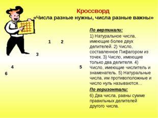 Кроссворд «Числа разные нужны, числа разные важны» По вертикали: 1) Натураль