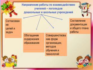 Направления работы по взаимодействию учителей – логопедов дошкольных и школь