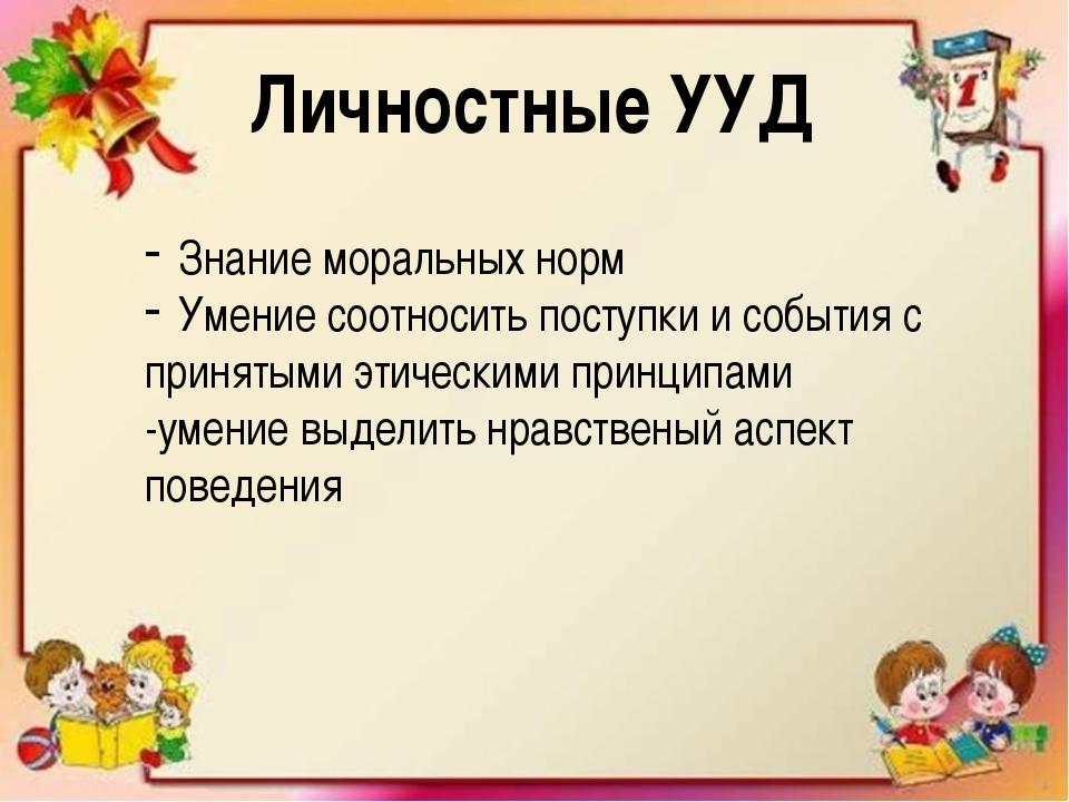 Личностные УУД Знание моральных норм Умение соотносить поступки и события с...
