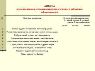АНКЕТА для оценивания деятельности педагогического работника обучающимися №К