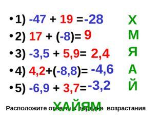1) -47 + 19 = 2) 17 + (-8)= 3) -3,5 + 5,9= 4) 4,2+(-8,8)= 5) -6,9 + 3,7= -28