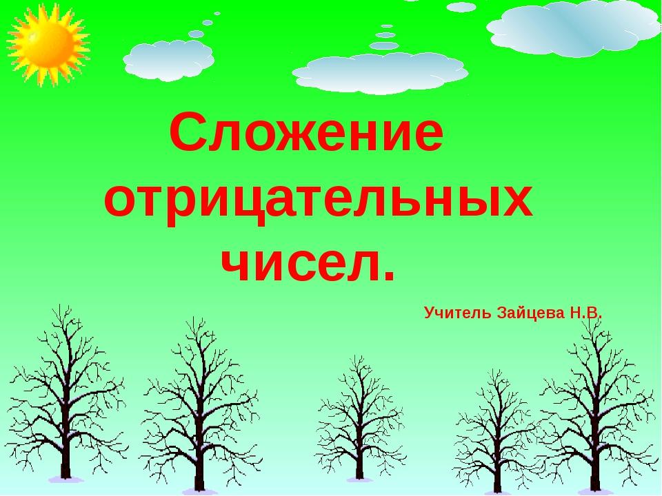 Сложение отрицательных чисел. Учитель Зайцева Н.В.