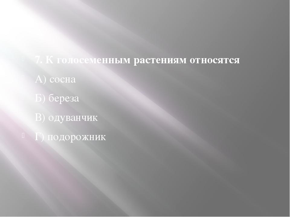 7. К голосеменным растениям относятся А) сосна Б) береза В) одуванчик Г) под...