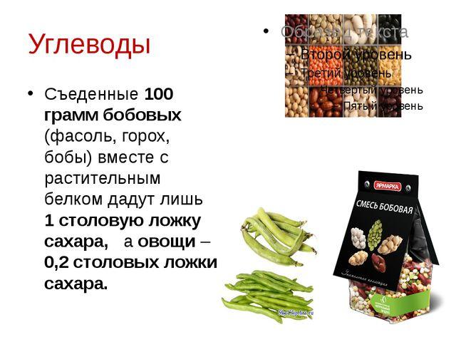 Углеводы Съеденные 100 грамм бобовых (фасоль, горох, бобы) вместе с раститель...