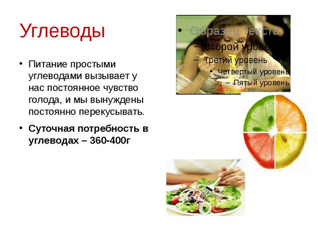Углеводы Питание простыми углеводами вызывает у нас постоянное чувство голода...
