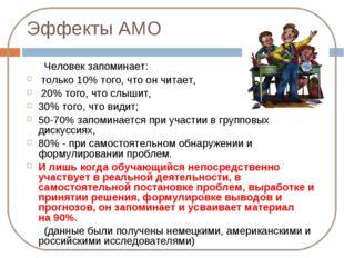 Эффекты АМО Человек запоминает: только 10% того, что он читает, 20% того, что