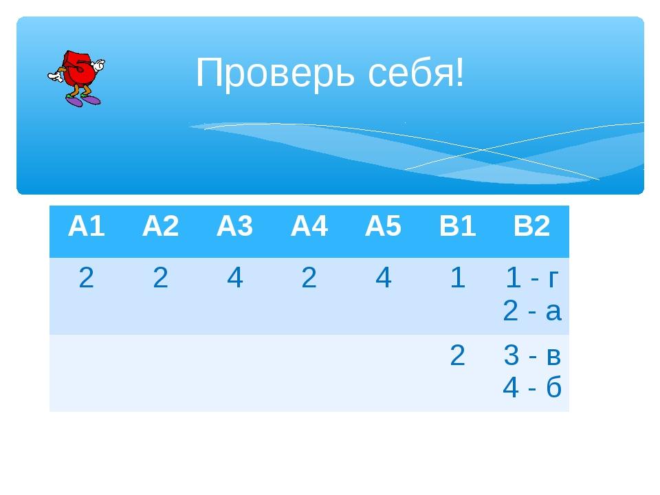 Проверь себя! А1А2А3А4А5В1В2 2242411 - г 2 - а 23 - в 4 - б
