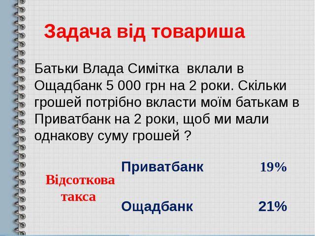 Задача від товариша Батьки Влада Симітка вклали в Ощадбанк 5000 грн на 2 рок...