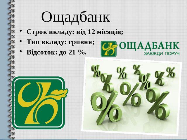 Ощадбанк Строк вкладу: від 12 місяців; Тип вкладу: гривня; Відсоток: до 21 %.