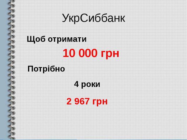 УкрСиббанк Щоб отримати 10 000 грн 4 роки 2 967 грн Потрібно