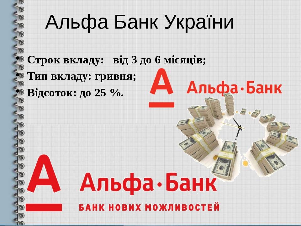 Альфа Банк України Строк вкладу: від 3 до 6 місяців; Тип вкладу: гривня; Відс...