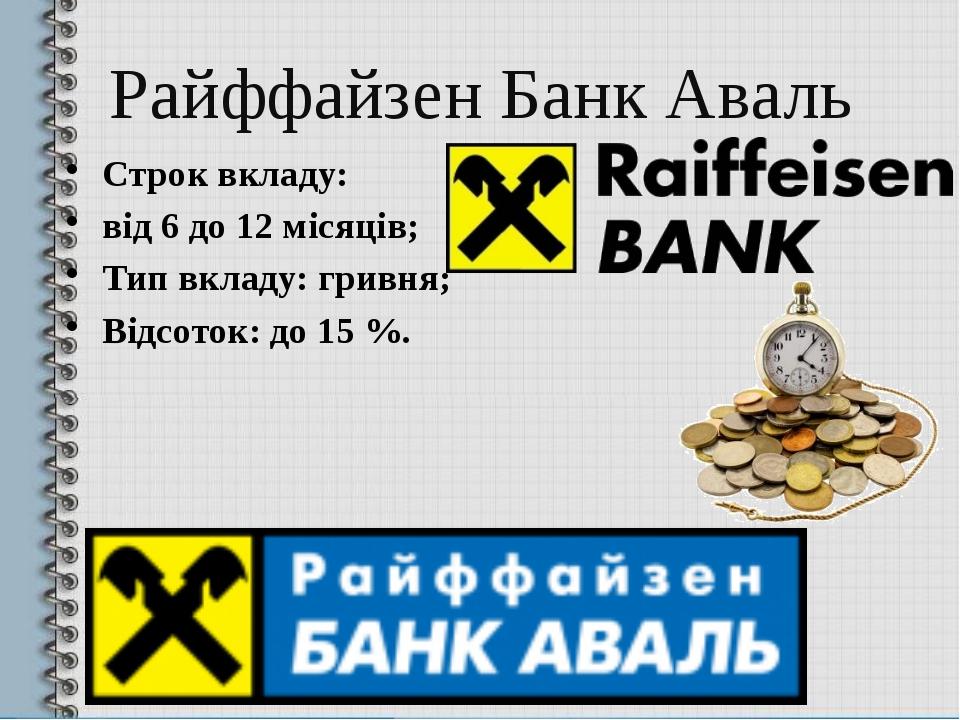 Райффайзен Банк Аваль Строк вкладу: від 6 до 12 місяців; Тип вкладу: гривня;...