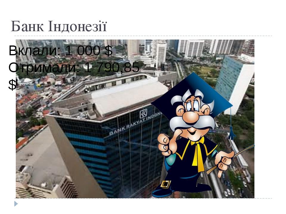 Банк Індонезії Вклали: 1 000 $ Отримали: 1 790,85 $