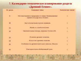 7. Календарно-тематическое планирование раздела «Древний Египет». № урока Наз