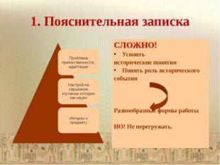 1. Пояснительная записка СЛОЖНО! Усвоить исторические понятия Понять роль ист