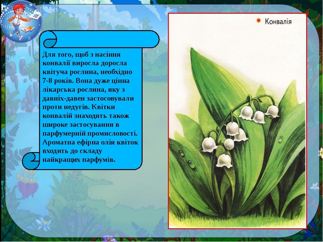 Для того, щоб з насіння конвалії виросла доросла квітуча рослина, необхідно 7...