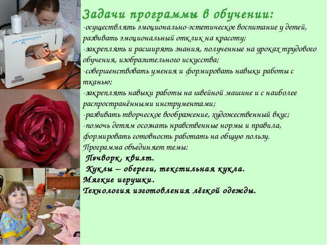 Задачи программы в обучении: -осуществлять эмоционально-эстетическое воспитан...