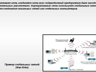 Корпоративная сеть соединяет сети всех подразделений предприятия даже находящ