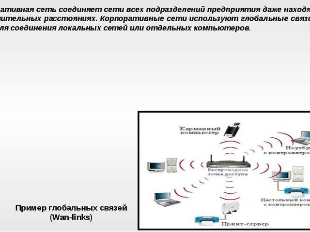Корпоративная сеть соединяет сети всех подразделений предприятия даже находящ...