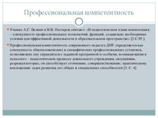 Профессиональная компетентность Ученые А.С. Белкин и В.В. Нестеров считают: «
