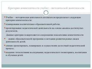 Критерии компетентности учебно – методической деятельности Учебно – методиче