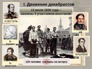 I. Движение декабристов 13 июля 1826 года – казнены 5 участников восстания 12