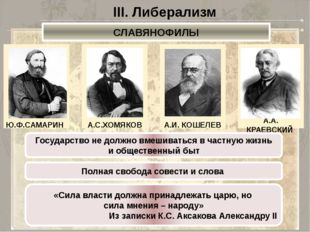 III. Либерализм СЛАВЯНОФИЛЫ Ю.Ф.САМАРИН А.С.ХОМЯКОВ А.И. КОШЕЛЕВ А.А. КРАЕВСК