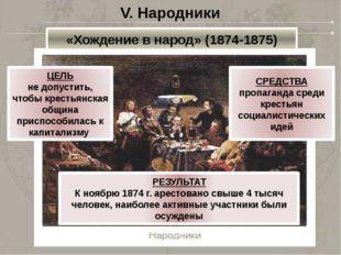V. Народники «Хождение в народ» (1874-1875) ЦЕЛЬ не допустить, чтобы крестьян