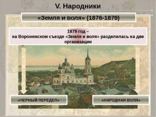 V. Народники «Земля и воля» (1876-1879) 1879 год – на Воронежском съезде «Зем