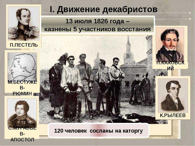 I. Движение декабристов 13 июля 1826 года – казнены 5 участников восстания 12...