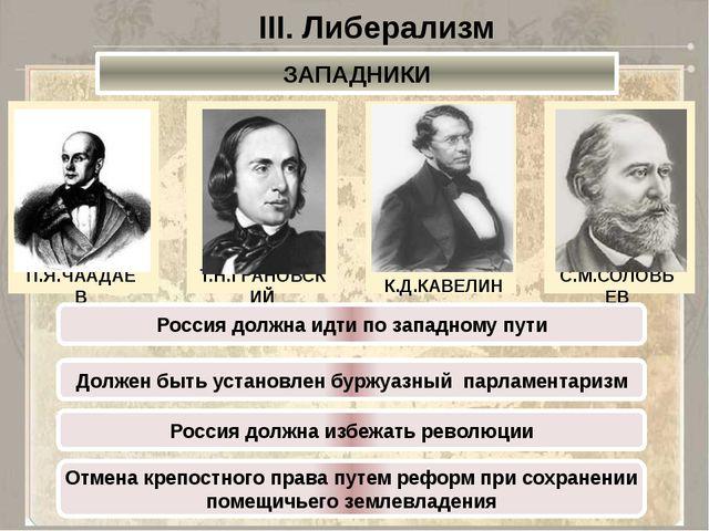 III. Либерализм ЗАПАДНИКИ П.Я.ЧААДАЕВ Т.Н.ГРАНОВСКИЙ К.Д.КАВЕЛИН С.М.СОЛОВЬЕВ...