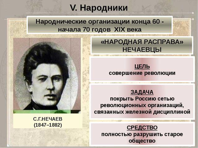 V. Народники Народнические организации конца 60 - начала 70 годов XIX века «Н...