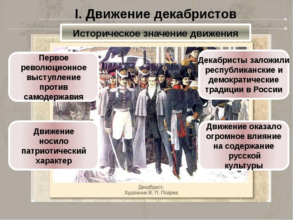 I. Движение декабристов Историческое значение движения Первое революционное в...