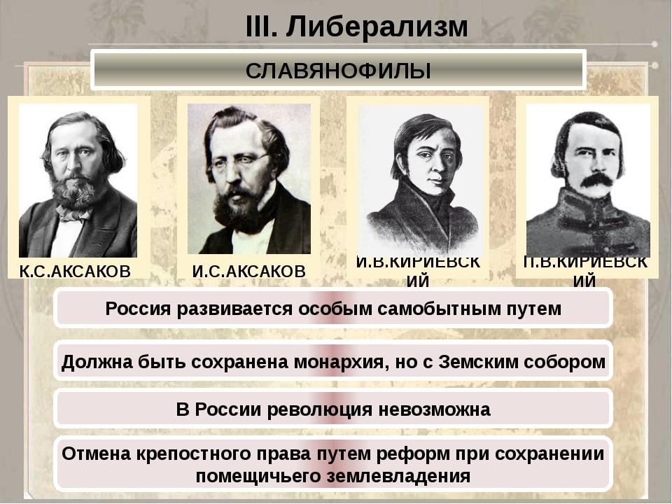 III. Либерализм СЛАВЯНОФИЛЫ К.С.АКСАКОВ И.С.АКСАКОВ И.В.КИРИЕВСКИЙ П.В.КИРИЕВ...
