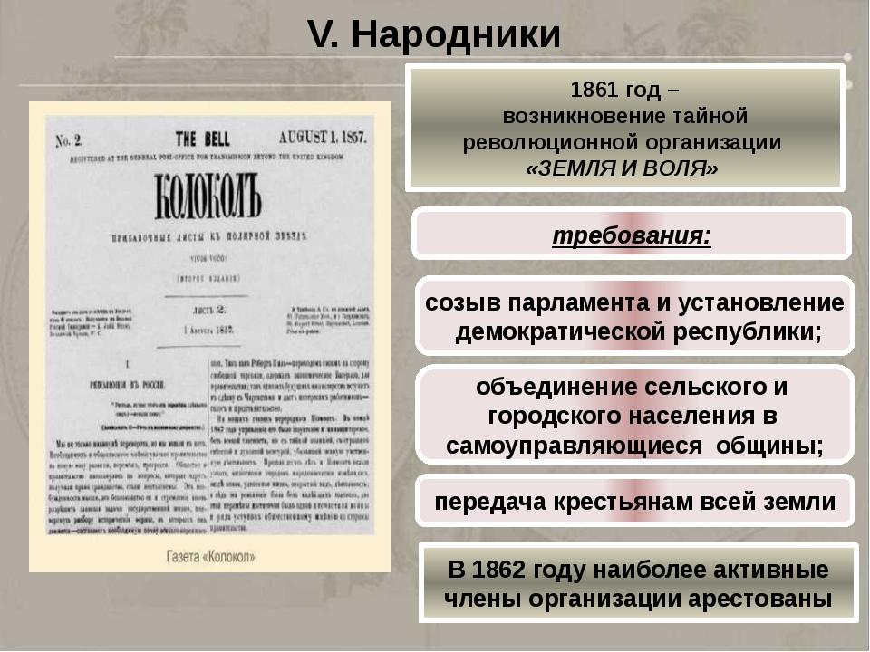 V. Народники 1861 год – возникновение тайной революционной организации «ЗЕМЛЯ...