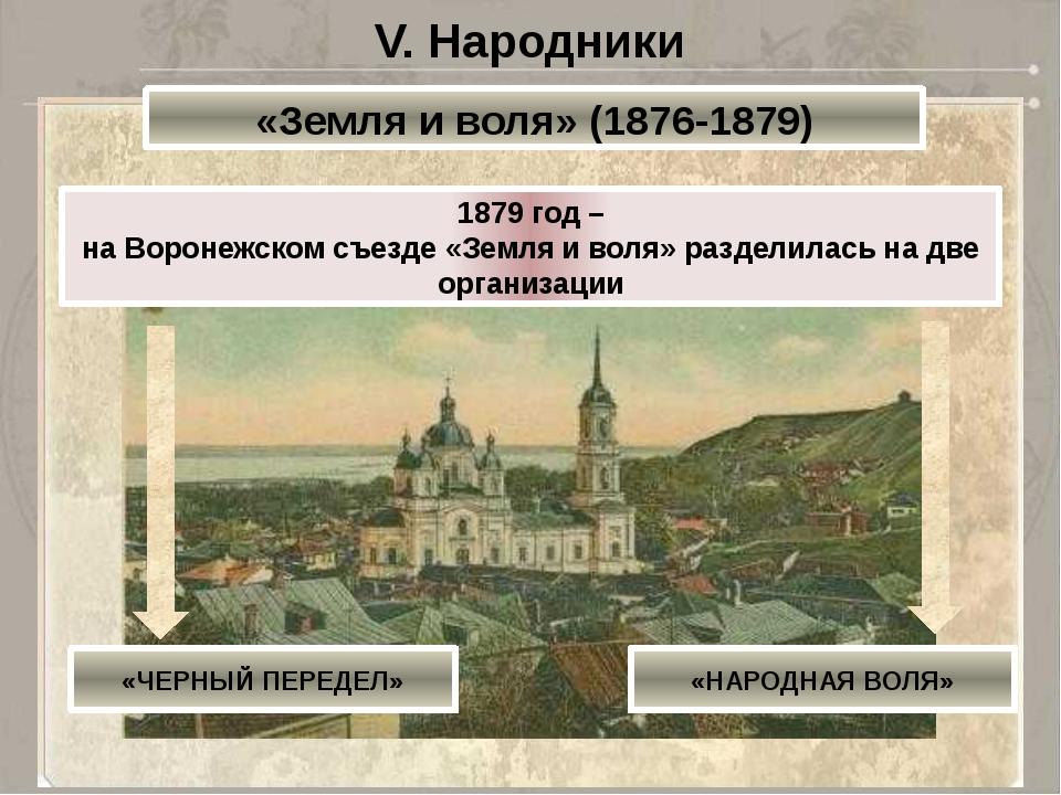 V. Народники «Земля и воля» (1876-1879) 1879 год – на Воронежском съезде «Зем...